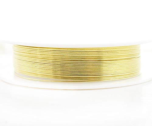 (4m 13ft 4.3yrd Gold Wrapped Artistic Aluminium Beading Artisan Craft Jewelry Wire Wrap On Spool Jewelry Cord Soft Temper 0.5mm Gauge 24 )