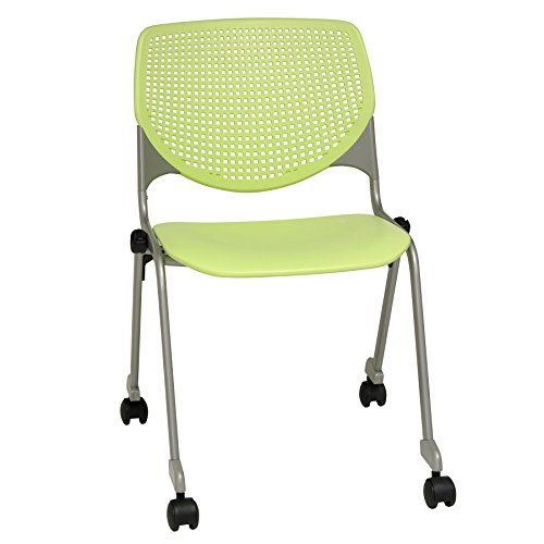 (KFI Seating Kool Series Polypropylene Stack Chair with Perforated Back and Casters, Lime Green Finish)