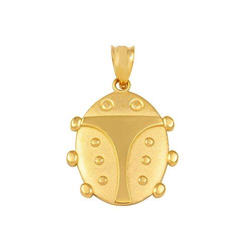 (Fine 14k Yellow Gold Lucky Ladybug Charm Pendant)