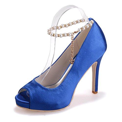 L@YC Women High Heels 6041-05 Silk Peep Toe Silk Wedding Shoes/Novelty Skirt/Casual Blue