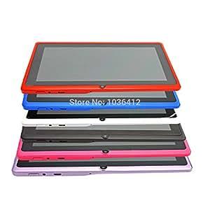 ARBUYSHOP 7 pulgadas de pantalla de AllWinner A33 Tablet PC Q88 512RAM + 8GB ROM Android 4.4 OTG WIFI Quad Core Cámara capacitiva, White