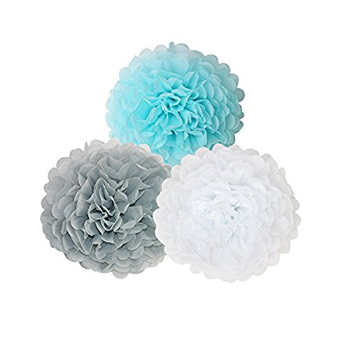Topfun 35 pcs Baby Shower Decorations Baby Blue Gray White Paper Pom Poms Flowers Tissue Tassel Polka Dot Paper Garland kit with 12 Balloons for 1st Birthday Baby Shower Party Wedding Favors