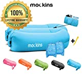 Mockins 2 Pack Blue Inflatable Lounger Hangout Sofa Bed with Travel Bag Pouch The Portable Inflatable Couch Air Lounger is Perfect for Music Festivals and Camping Accessories Inflatable Hammock ... ... ...
