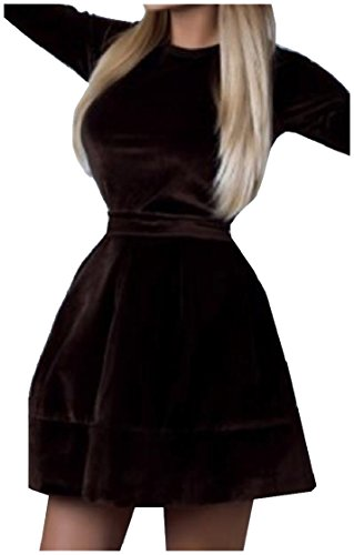 Femmes Coolred Balancer Sangles De Velours Automne Cocktail Sexy Partie Mini-robe Brune