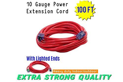 Century Contractor Grade 100 ft 10 Gauge Power Extension Cord 10/3 Plug,100 ft 10 Gauge Heavy Duty Indoor Outdoor SJTW Lighted Outlet Extension Cord America Style (100 ft 10 Gauge, red extension cord) -