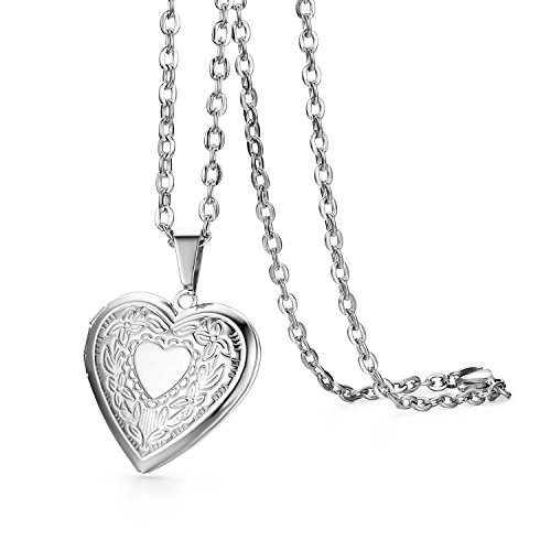 Heart Metal Engraved Pendant Charm (Cupimatch Book Engraved Love Heart Photo Locket Pendant Necklace Charm Chain Fashion Jewelry 17.8