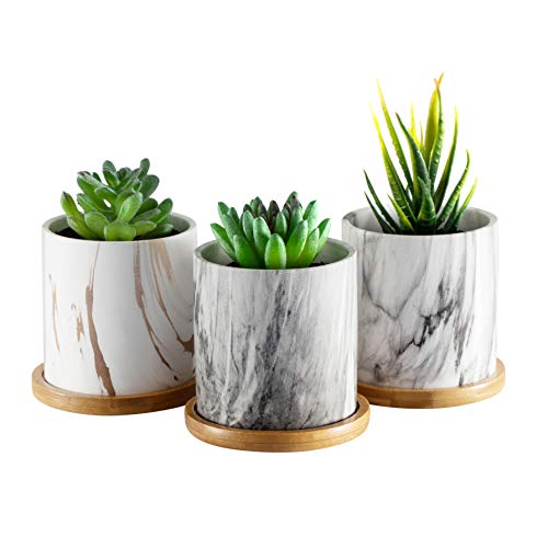 Dsben 3.5 Inch Succulent Plant Pots, Small Marble Pattern Ceramic Planter Indoor with Bamboo Tray for Cactus Herb(No Plants Inculded), Set of 3