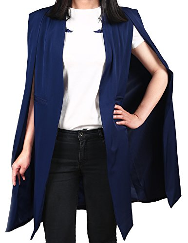 - ASMAX HaoDuoYi Women Casual Open Front Cape Trench Duster Coat Longline Blazer(XXL,Navy Blue)