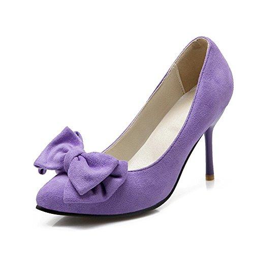 Amoonyfashion Womens Pull On Smerigliato Punta Punte A Punta Stivaletti Solide Pompe-scarpe Viola