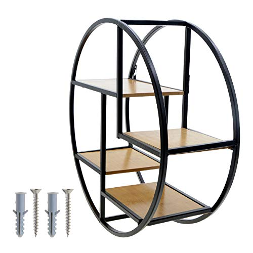 (Saim Round Wall Shelf Wooden & Iron Wall Mounted Floating Shelves Industrial Decorative Metal Display Rack for Home Office Living Room Bedroom)