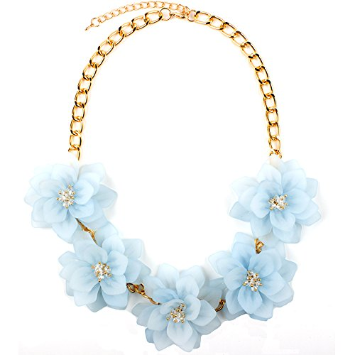 Claire Jin Flower Necklaces for Women Jewelry Crystal Summer Choker Statement Short Necklace 12 Colors (Light Blue) by Claire Jin