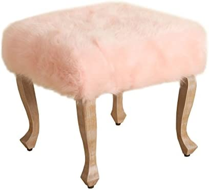 HomePop Faux Fur Square Stool