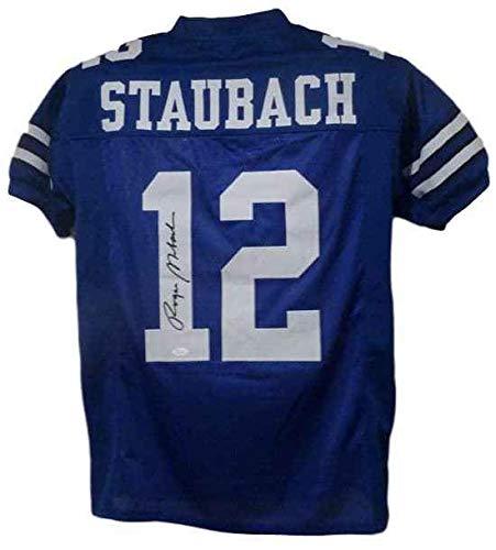 Roger Staubach Autographed Dallas Cowboys size XL blue jersey JSA ()