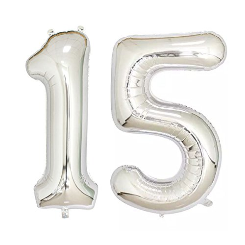 40inch Silver Foil 15 Helium Jumbo Digital Number Balloons, 15th Birthday Decoration for Girls or Boys,15 Birthday Party Supplies