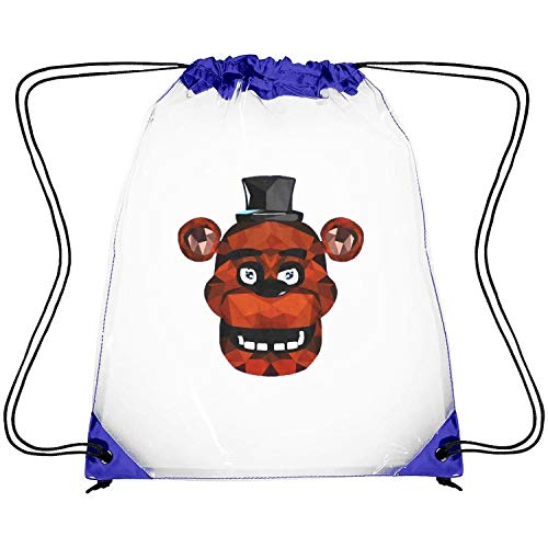 ERFDSVFSV Drawstring Clear Bags Five-Nights-at-Freddyâ€s-Freddy-Fazbear-Geometric- Printing PVC Adjustable Strap Stadium Clear Backpack (Water Works Monopoly Costume)