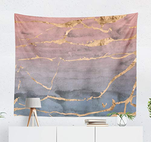 LALILO Marbles Decorative Tapestry Rose Gold Foil Marble Ombre Watercolor Pink and Wall Hanging Tapestry for Bedroom Living Kids Girls Boys Room Polyester 80''L x 60''W