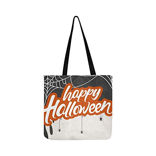 Creative Scary Halloween Celebration Happy Canvas Tote Handbag Shoulder Bag Crossbody Bags Purses For Men And Women Shopping Tote ()