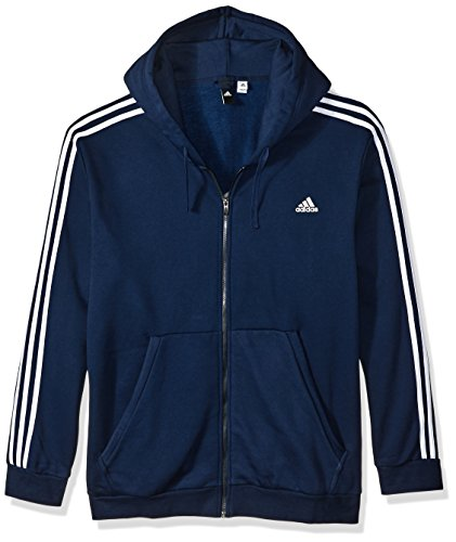 adidas Mens Athletics Essential Cotton 3 Stripe Full Zip Hoody