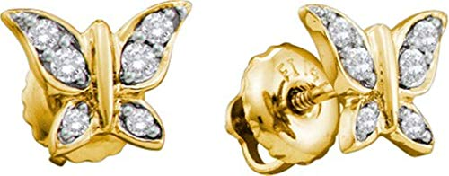 Aienid 14Kt Yellow Gold 0.12Ct Diamond Butterfly Earrings for Women