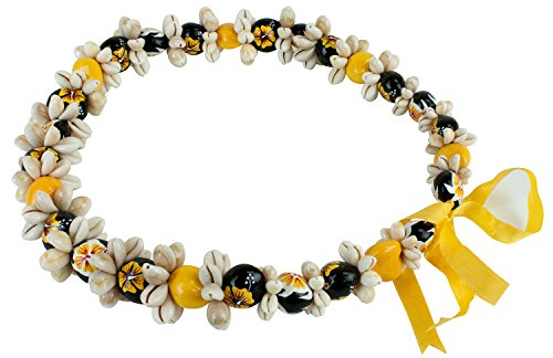 Barbra Collection Various Style of Kukui Nut Necklaces with Cowrie Shell (Yellow)