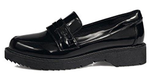 SHOWHOW Womens Casual Low Cut Slip On Flats Pumps Black KXje84