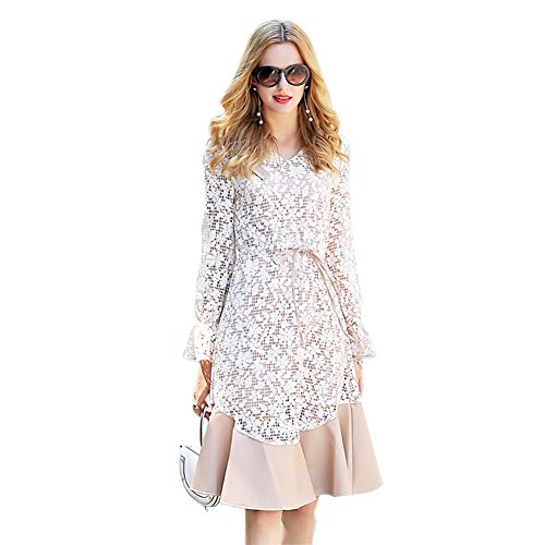 Floral New Neck 2018 V Dress Lace cotyledon for Suit Flare Autumn Sleeve Dresses Pattern Spring AYR5wxEq