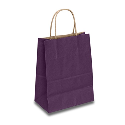 Purple Paper Gift Bags | Quantity: 250 | Width: 8'' Gusset - 4 3/4 by Paper Mart