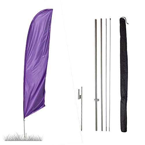 Vispronet - Purple Solid Feather Flag Kit - 13.5ft Knitted Polyester Swooper Flag with Pole Set and Ground Spike - Dyed in The - Flag Polyester Dyed