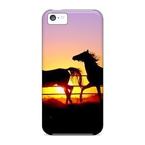 New Premium Flip Cases Covers Sunset Horse Skin Cases For Iphone 5c