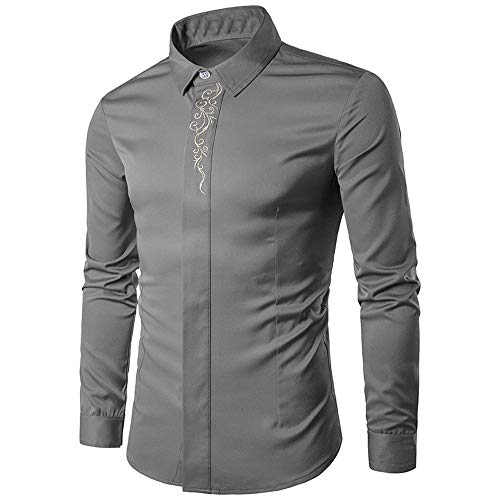 Edwardian Embroidery - Hot Zlolia Mens Long Sleeve Hipster Fit Dress Shirts Embroidery Down Button Tops Blouse