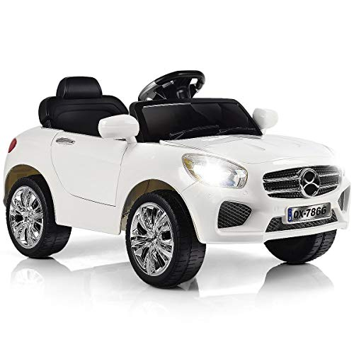 HONEY JOY Ride On Car, 6V Battery Powered Vehicle for Kids with Remote Control, LED Lights, MP3, Music, Horn (White)