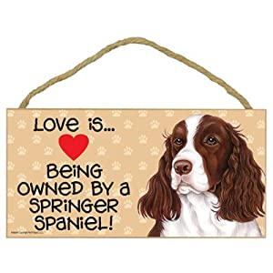 """SJT ENTERPRISES, INC. Love is Being Owned by a Springer Spaniel 5"""" x 10"""" MDF Wood Sign (SJT60569) 7"""