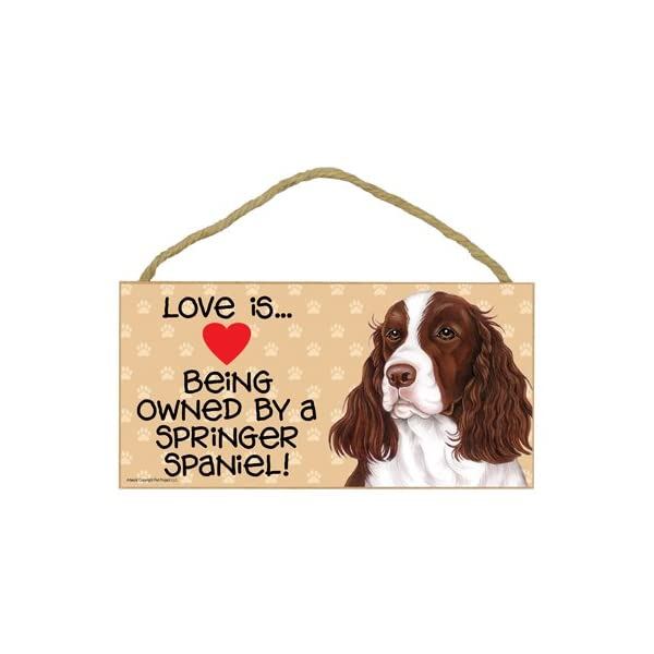 "SJT ENTERPRISES, INC. Love is Being Owned by a Springer Spaniel 5"" x 10"" MDF Wood Sign (SJT60569) 1"