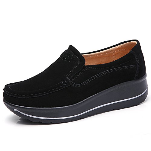 STQ-MH3507heise39 Women Comfort Platform Loafers Slip On Wedge Suede Shoes Wide Moccasins Work Sneakers Black 8 B(M) US