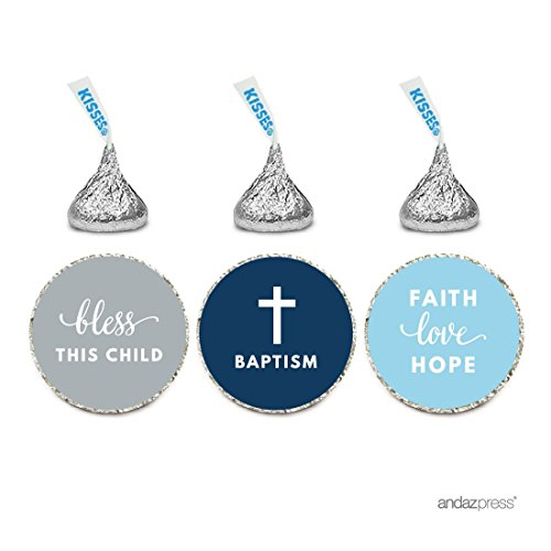 Andaz Press Chocolate Drop Labels Trio, Fits Hershey's Kisses Party Favors, Boy Christening, Baptism, Communion 216-Pack - Religious, Church, Catholic, Scripture, Verse, Bible, Biblical, Faith, Hope, Love, Bless, Blessings]()