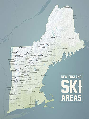 New England Ski Resorts Map 18x24 Poster (Natural Earth)