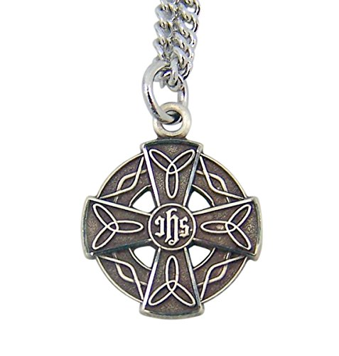 Sterling Silver Round Celtic Cross Pendant with IHS Center, 3/4 Inch