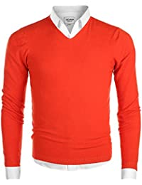 Men's Casual Regular Fit Pullover V-Neck Sweater Cotton Knitwear