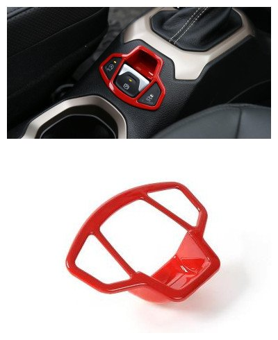 FMtoppeak Red Interior Center Console Handbrake Button Frame Cover Trim for Jeep Renegade 2014 UP