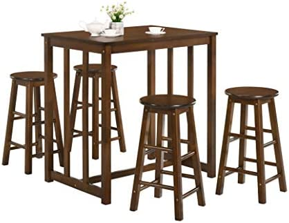 Merax 5-Piece Solid Wood Dining Table Set Kitchen High Pub Table Set with 4 Bar Stools Walnut