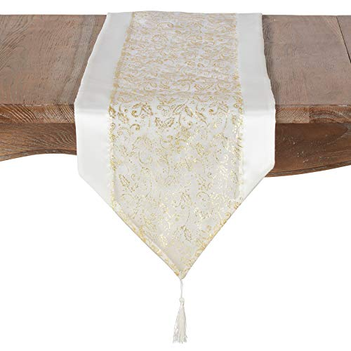 (SARO LIFESTYLE 9276.I1471X Feuille d'or Collection Organza Gold Leaf Design Table Runner 14