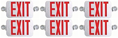 Ciata Lighting All LED Decorative Red Exit Sign & Emergency Light Combo with Battery Backup (6 Pack)