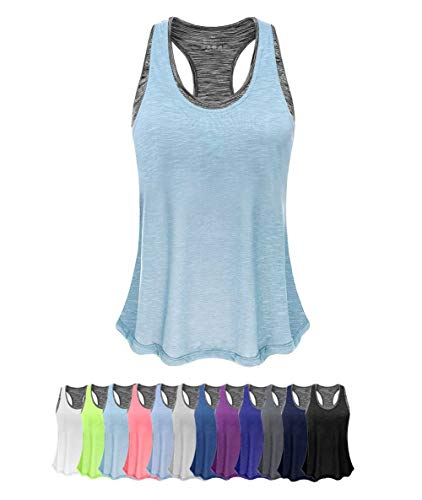 Tank Top With Bra - Women Tank Top with Built in Bra, Lightweight Yoga Camisole for Workout Gym Fitness(Sky Blue&Gray Bra, M)