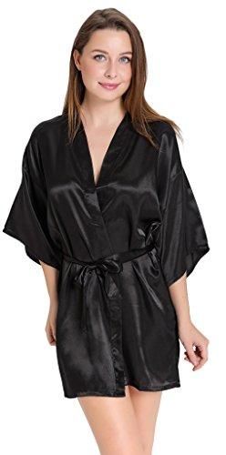 Aibrou Damen Morgenmantel Nachtwäsche kurz Satin Bademantel Kimono Negligee Satin Glanz Look