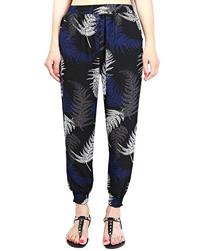 Stampa Estivi harem fiori Donna multicolor Pantaloni Retro elastici Pantaloni 9 8wqMdMRBX
