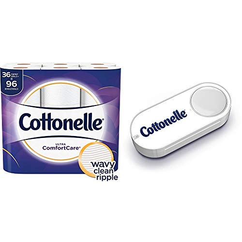 Cottonelle Ultra ComfortCare Toilet Paper, Soft Bath Tissue, 36 Family Rolls+ + Cottonelle Dash Button