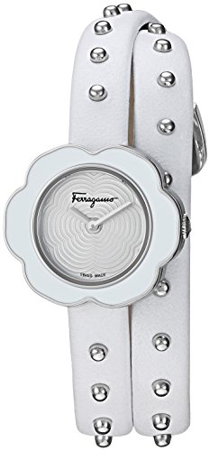 Salvatore Ferragamo Women's 'Fiore' Quartz Stainless Steel and Leather Watch, Color:White (Model: SFCS00118) (Leather White Ferragamo)
