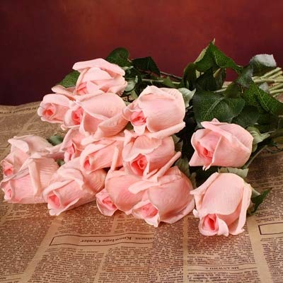 Felice Arts Artificial Flowers 17 6Pc Silk Rose Bouquets for Valentines Day Wedding Home Decorations White