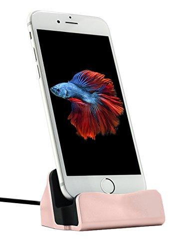 MyGadget© iPhone Docking-station (inkl. 1m Kabel) Ladestation Ständer Charger für Apple 7/7 Plus 6s/6s Plus/6/5/5s/5c/SE,iPod Nano 7/5G in Roségold