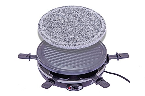 King of Raclette 2 IN 1 ROUND Party BBQ Grill with Temperature Control & Safety Indicator Electric Nonstick BBQ Indoor Grill / Outdoor Grills for up to 6 People (King Bbq Grill compare prices)